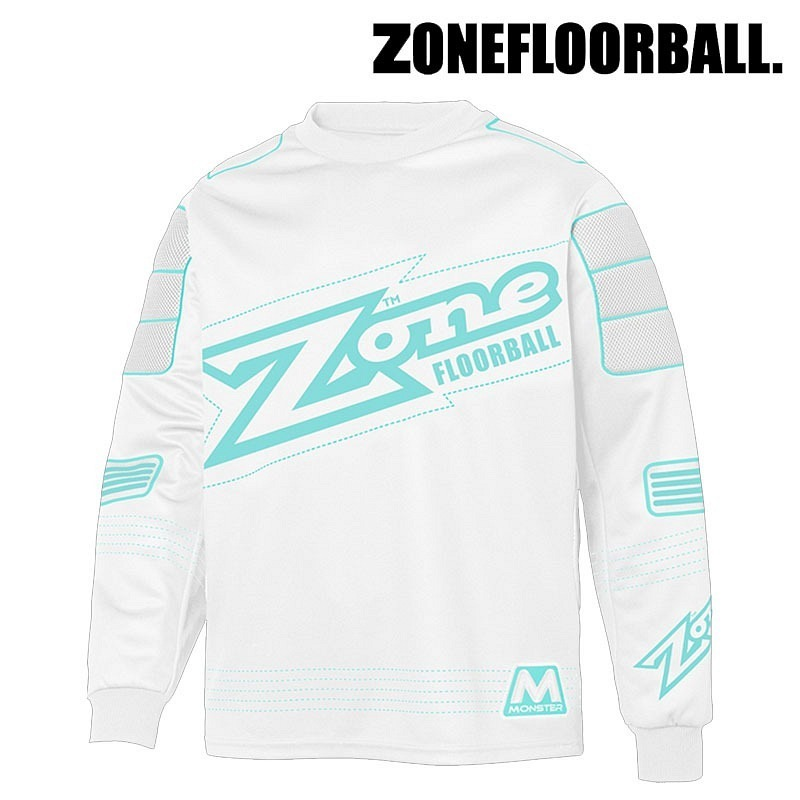 Zone Goaliepullover Monster weiss/türkis