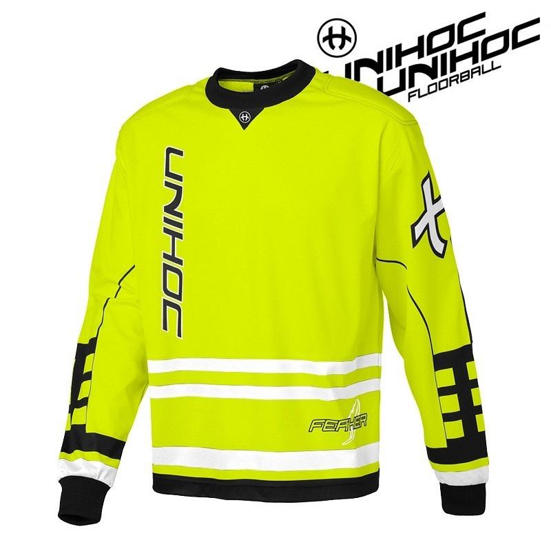 unihoc Goalie Sweater Feather Junior neon yellow