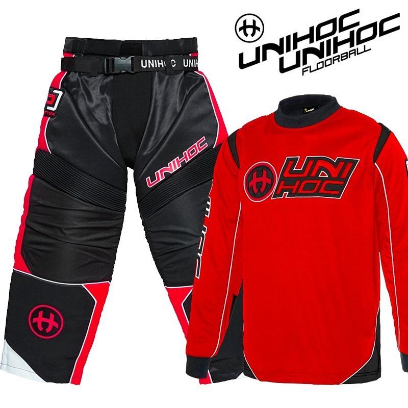 unihoc Goalieset Optima rot/schwarz